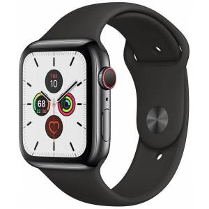 Apple Watch Series 5 Cellular 44mm Black Steel with Black Sport Band (WK2)