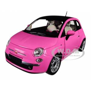 Norev 2010 Fiat 500 Pink 1/18 Diecast Model Car by Norev