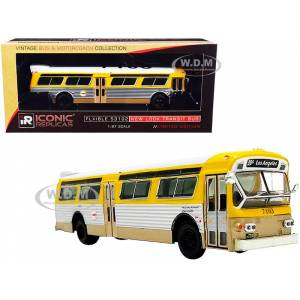 """Iconic Replicas Flxible 53102 Transit Bus """"RTA"""" (Los Angeles California) Yellow and Silver with White Top """"Vintage Bus & Motorcoach Collection"""" 1/87 Diecast Mode"""
