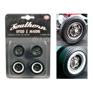"Acme Wheels and Tires Set of 4 ""1932 Ford 5 Five Window Southern Speed and Marine KIdney Bean Hot Rod"" 1/18 by ACME"