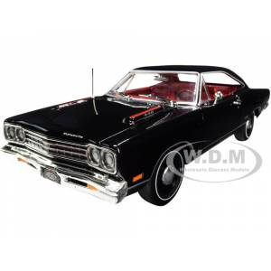 """Autoworld 1969 Plymouth GTX Hardtop X9 Black Velvet with Red Interior """"Muscle Car & Corvette Nationals"""" (MCACN) 1/18 Diecast Model Car by Autoworld"""