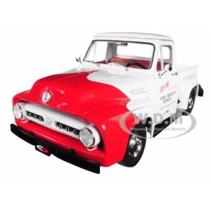 """Acme 1953 Ford F-100 """"So-Cal Speed Shop"""" Push Truck White and Red 1/18 Diecast Model Car by Acme"""