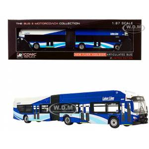 """Iconic Replicas New Flyer Xcelsior XN60 Articulated Bus The Rapid """"Laker Line"""" (Grand Rapids Michigan) Blue and White """"The Bus & Motorcoach Collection"""" 1/87 (HO)"""