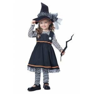 California Costume Collection Crafty Little Witch Costume For Toddlers  - Black/White - Size: 3T/4T