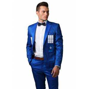 FUN Suits Doctor Who TARDIS Formal Slim Fit Suit Jacket  - Blue - Size: 50