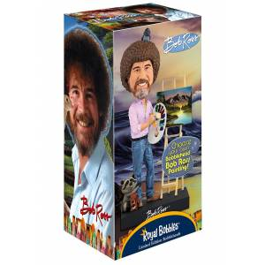 Royal Bobbles Official Bob Ross Bobblehead  - Yellow/Pink - Size: One Size