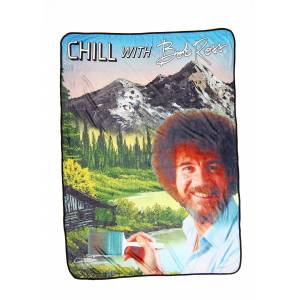 Surreal Entertainment Bob Ross Chill Throw  - Black/Brown/Green - Size: One Size