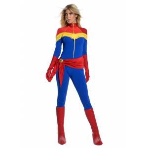 Charades Captain Marvel Women's Premium Costume  - Blue/Orange/Red - Size: Small