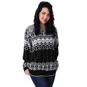 FUN Wear Black and White Skeleton Adult Ugly Halloween Sweater  - Black/Gray/White - Size: 2X