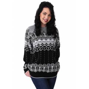 FUN Wear Black and White Skeleton Adult Ugly Halloween Sweater  - Black/Gray/White - Size: Large