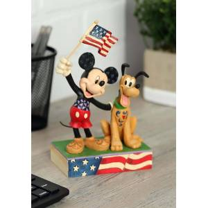 Enesco Patriotic Mickey and Pluto Statue  - Black/Red/Beige - Size: One Size