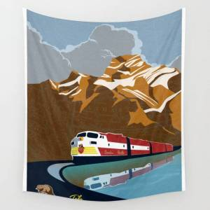"""Society6 Vintage Cp Rail Poster Wall Hanging Tapestry by Sassan Filsoof - Large: 88"""" x 104"""""""
