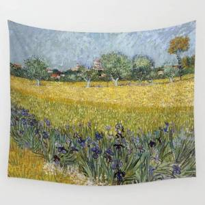 "Society6 Field With Flowers Near Arles By Vincent Van Gogh Wall Hanging Tapestry by Palazzo Art Gallery - Large: 88"" x 104"""
