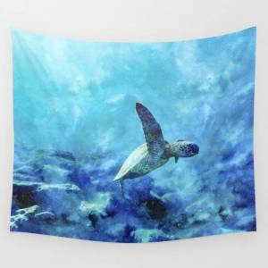 """Society6 Sea Turtle Into The Deep Blue Wall Hanging Tapestry by Art4u - Small: 51"""" x 60"""""""