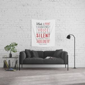 "Society6 What's The Point Of Having A Voice? - The Hate U Give Wall Hanging Tapestry by Shanandwords - Small: 51"" x 60"""