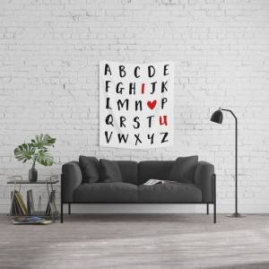 """Society6 26 Letters In The Alphabet And I Love U - Valentines Day Love Quote Wall Hanging Tapestry by Deificus Art - Small: 51"""" x 60"""""""