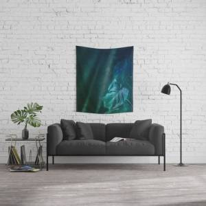 """Society6 Midnight Jungle Magic Monstera Leaves Wall Hanging Tapestry by Art4u - Small: 51"""" x 60"""""""