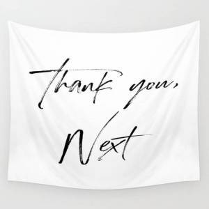 "Society6 Ariana G. Quote, Thank U, Next, Lyrics, Home Decor, Wall Art, Wall Decor Wall Hanging Tapestry by Vanja Cvetkovic - Small: 51"" x 60"""
