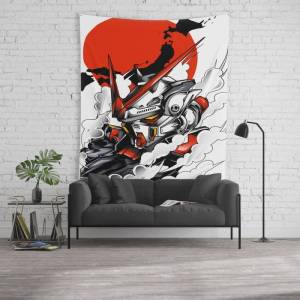 """Society6 Astray Red Frame Bust F-12 Wall Hanging Tapestry by Syndicatestudio - Large: 88"""" x 104"""""""