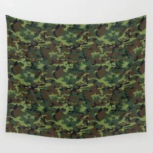 """Society6 U.s. Woodland Camo Wall Hanging Tapestry by Thin Line Studio - Small: 51"""" x 60"""""""