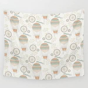 """Society6 Vintage Wonderland - Hot Air Balloon Wall Hanging Tapestry by Shirts And Date Of Birth-by-frankenberg - 51"""" x 60"""""""