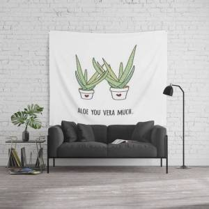 """Society6 Aloe You Very Much Wall Hanging Tapestry by Margaret And Co Designs - Large: 88"""" x 104"""""""