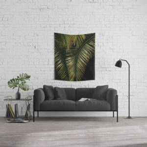 """Society6 Golden Moments Tropical Palm Leaf Glamour Wall Hanging Tapestry by Art4u - Small: 51"""" x 60"""""""