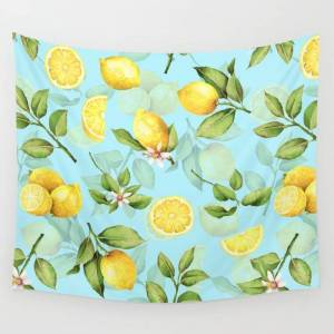 """Society6 Vintage & Shabby Chic - Lemonade Wall Hanging Tapestry by Art & Vintage & Love - Small: 51"""" x 60"""""""