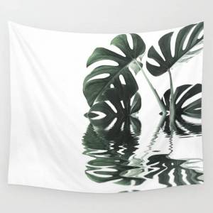 """Society6 Monstera Leaves Reflecting In Water Minimalist Tropical Style Wall Hanging Tapestry by Art4u - Small: 51"""" x 60"""""""
