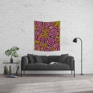 "Society6 U Belong - Authentic Aboriginal Art Wall Hanging Tapestry by Hogarth Arts - Authentic Aboriginal Art - Small: 51"" x 60"""