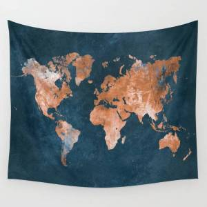 "Society6 World Map 15 Wall Hanging Tapestry by Justyna Jaszke Jbjart - Small: 51"" x 60"""