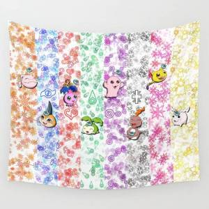 """Society6 Digimon 15th Anniversary Wall Hanging Tapestry by Abigailc - Small: 51"""" x 60"""""""
