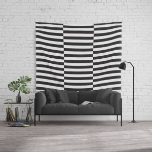 """Society6 Ikea Stockholm Rug Pattern - Black Stripe Black Wall Hanging Tapestry by Dizzy Moments - 88"""" x 104"""""""