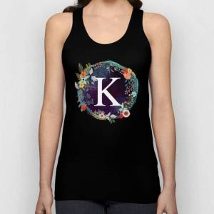 Society6 Personalized Monogram Initial Letter K Floral Wreath Artwork Unisex Tank Top by Aba2life - Black - MEDIUM - Unisex Tank Top