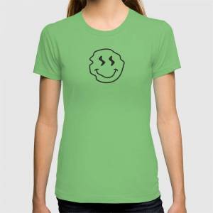 Society6 Wonky Smiley Face - Black And Cream Graphic T-shirt by Jimmy Raines - Grass - MEDIUM - Womens Fitted Tee