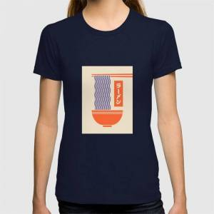 Society6 Ramen Japanese Food Noodle Bowl Chopsticks - Cream Graphic T-shirt by Neotokyo - Navy - MEDIUM - Womens Fitted Tee