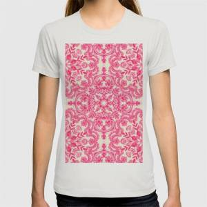 Society6 Hot Pink & Soft Cream Folk Art Pattern Graphic T-shirt by Micklyn - Silver - MEDIUM - Womens Fitted Tee