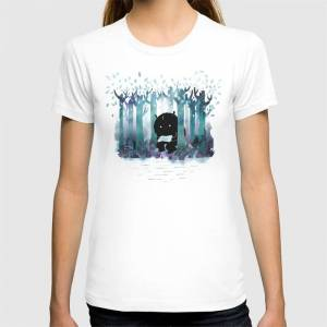 Society6 A Quiet Spot Graphic T-shirt by Littleclyde - White - MEDIUM - Womens Fitted Tee
