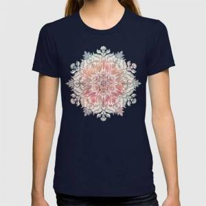 Society6 Autumn Spice Mandala In Coral, Cream And Rose Graphic T-shirt by Micklyn - Navy - MEDIUM - Womens Fitted Tee