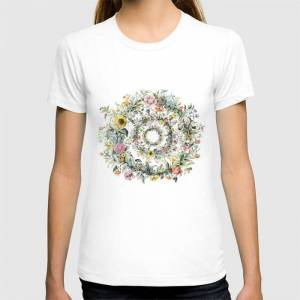 Society6 Circle Of Life Cream Graphic T-shirt by Anipani - White - MEDIUM - Womens Fitted Tee