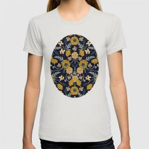 Society6 Navy Blue, Turquoise, Cream & Mustard Yellow Dark Floral Pattern Graphic T-shirt by Beth Norton - Silver - MEDIUM - Womens Fitted Tee