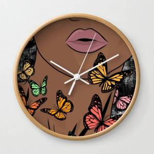 Society6 You Give Me Butterflies Wall Clock by The King Gallery - Natural - White