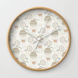 Society6 Vintage Wonderland - Hot Air Balloon Wall Clock by Shirts And Date Of Birth-by-frankenberg - Natural - White