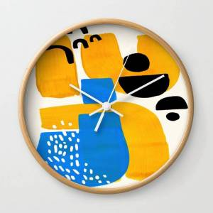 Society6 Mid Century Modern Abstract Minimalist Fun Colorful Shapes Patterns Ikea Yellow & Blue Wall Clock by Enshape - Natural - White