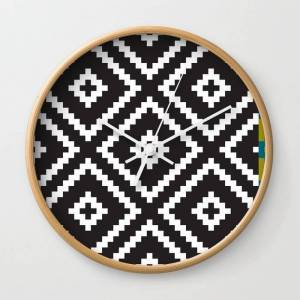 Society6 Ikea Lappljung Ruta Inverse Wall Clock by Dizzy Moments - Natural - White