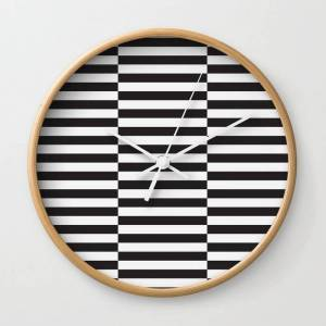 Society6 Ikea Stockholm Rug Pattern - Black Stripe Black Wall Clock by Dizzy Moments - Natural - White
