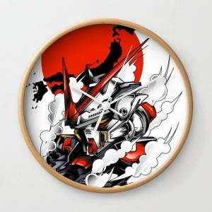 Society6 Astray Red Frame Bust F-12 Wall Clock by Syndicatestudio - Natural - White