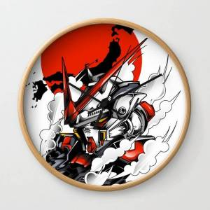 Society6 Astray Red Frame Bust F-12 Wall Clock by Syndicatestudio - Natural - Black