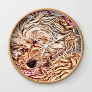 Society6 Sleeping Baby Copper the Havapookie Wall Clock by karen1219