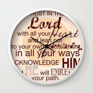 Society6 Trust In The Lord With All Your Heart. Wall Clock by Lindsey S. Jordan Jr - White - Black